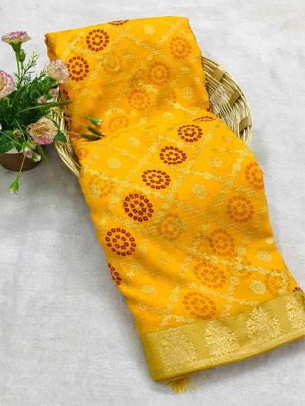 Stylish Yellown Marble Chiffon saree