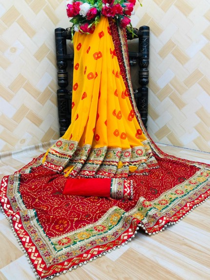 women's party wear Georgette bandhani saree
