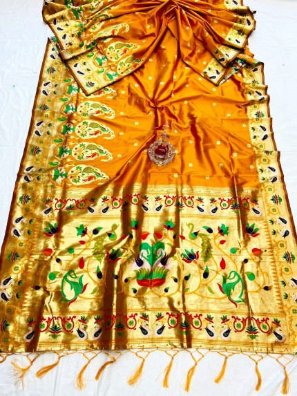 Yellow Pethani Silk Saree With Full Jacquard Weaving Big Border - gnp0108792