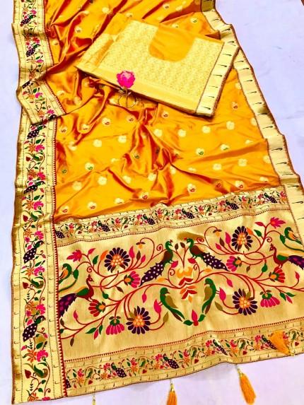 Yellow Silk Saree with Full Weaving Border Paithani Saree with Rich Pallu - gnp0108825