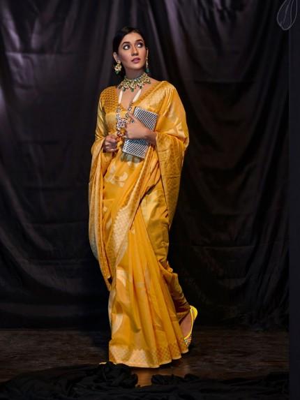 Yellow Soft Modal Cotton with Designer Weaving Saree - gnp0108880