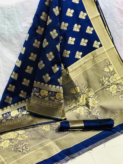 Zari Gold Banarasi Silk Weaving Silk Saree - Blue