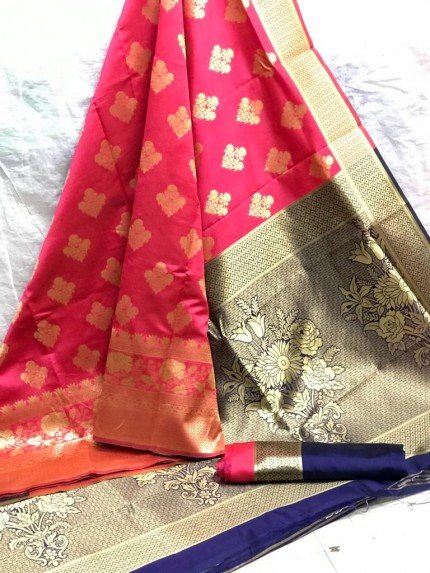 Zari Gold Banarasi Silk Weaving Silk Peach Saree