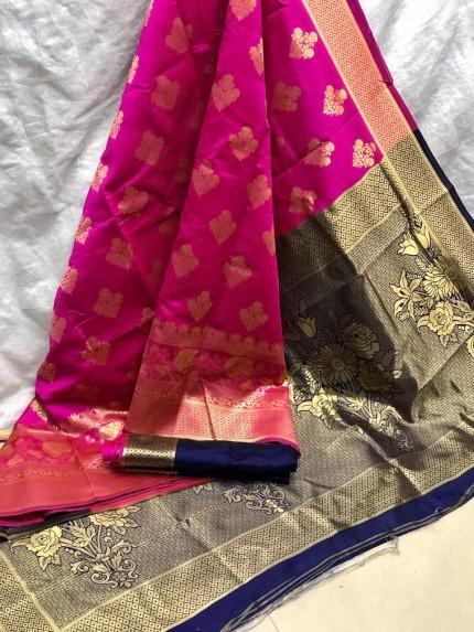 Zari Gold Banarasi Silk Weaving Silk Pink Saree