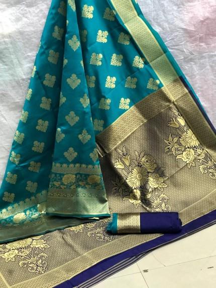Zari Gold Banarasi Silk Weaving Silk Sea Blue Saree