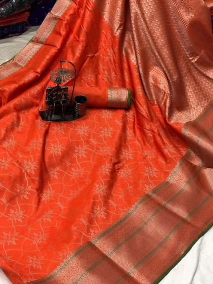 Banarasi silk jacquard saree (Orange) gnp007222