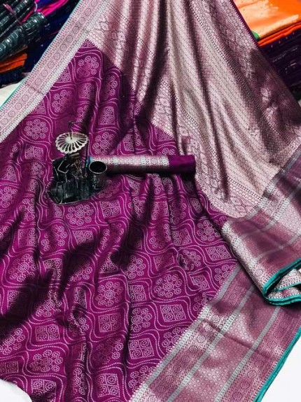 Banarasi silk jacquard saree (Purple) gnp007225