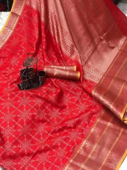 Banarasi silk jacquard saree (Red) gnp007226