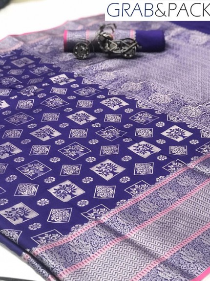Jacquard woven saree in Blue gnp007588