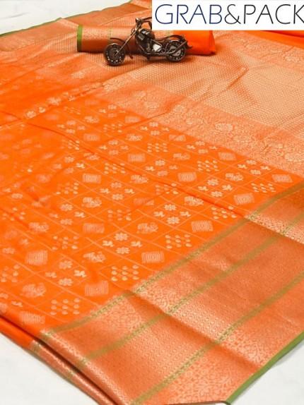 Jacquard woven saree in orange gnp007592