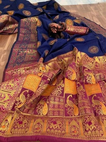 banarasi silk saree golden