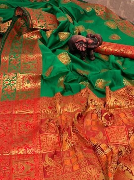 Soft Pure Banarasi Silk Paithani Style Rich Pallu Saree