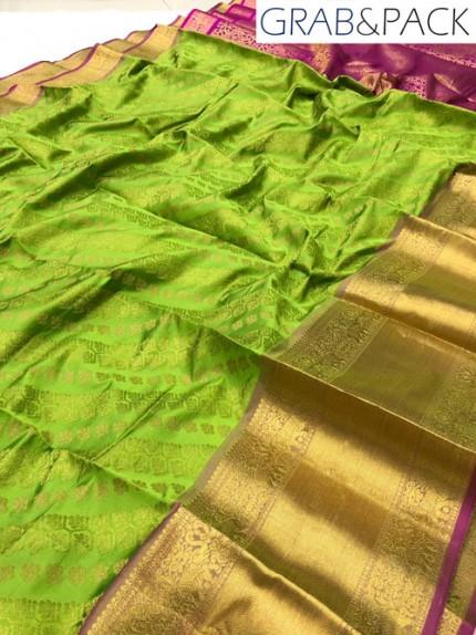 green silk saree