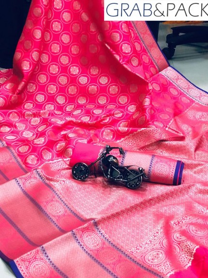Jacquard woven saree in Pink gnp007592