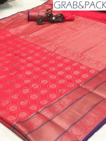 Jacquard woven saree in Pink gnp007601