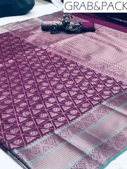 Jacquard woven saree in Purple gnp007591