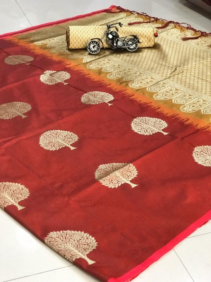 Party wear weaving jacquard saree in Brown
