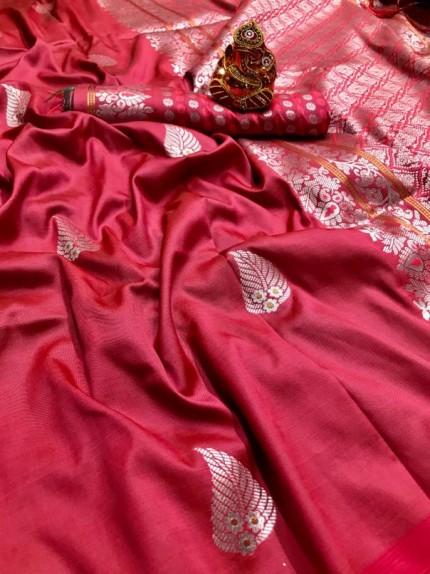 Peach Colored Soft Lichi Silk Saree with Silver and Gold Zari - gnp009671