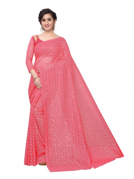 Soft Net Jacquard Saree with Beautiful Sequence work at grabandpack.com