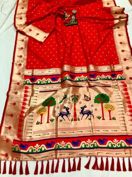 Super Soft Kanjivaram lichi silk Saree in Red