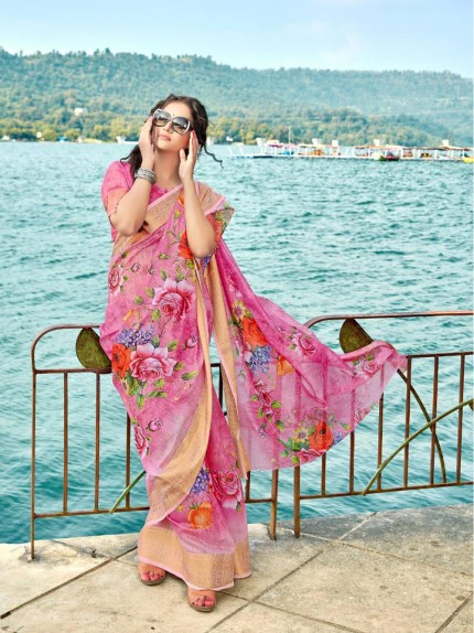 Trendy Printed cotton sarees online shopping