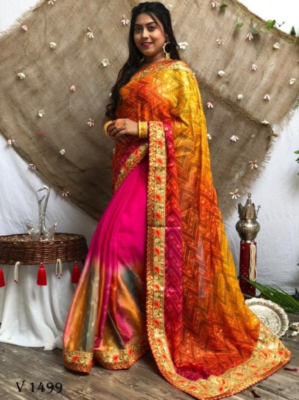 Bandhani Print Multi Colours Pallu Heavy Work Saree