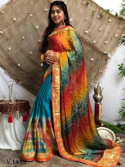 Bandhani Print Multi Colours Pallu Heavy Work Saree grabandpack