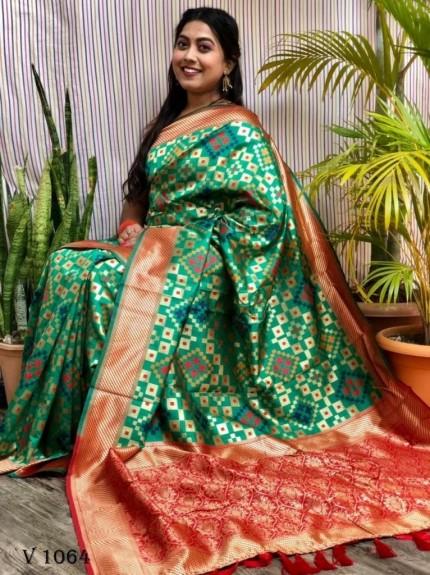 Banarasi Silk Patola Woven Designer Saree in green