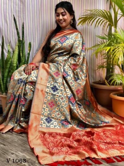 Banarasi Silk Patola Woven Designer Saree in grey