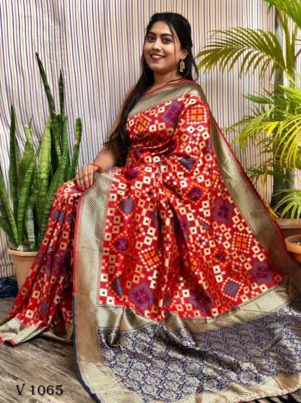 Banarasi Silk Patola Woven Designer Saree in Red