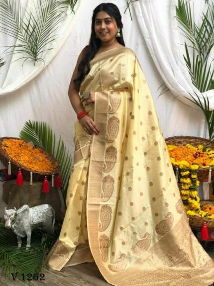 Banarasi Soft Silk Zari Woven Saree in cream