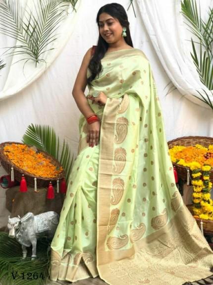 Banarasi Soft Silk Zari Woven Saree in Green