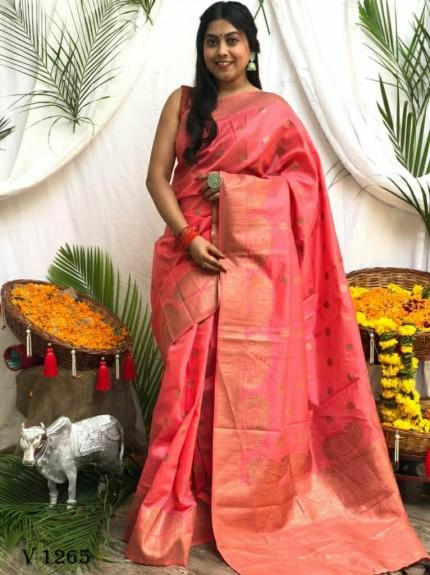 Banarasi Soft Silk Zari Woven Saree in Pink