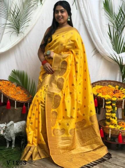 Banarasi Soft Silk Zari Woven Saree in Yellow