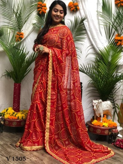 Bandhani Patola Print Party Wear Saree in Maroon