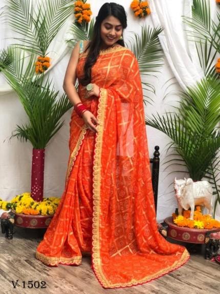 Bandhani Patola Print Party Wear Saree in orange