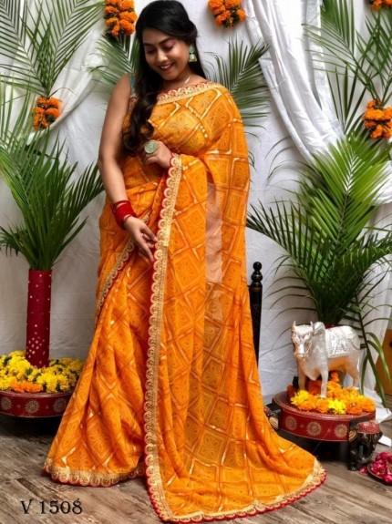 Bandhani Patola Print Party Wear Saree in Yellow