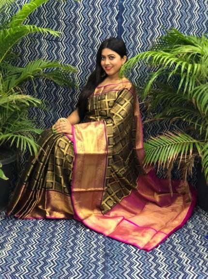 Beautiful Black Banarasi Silk Saree grabandpack