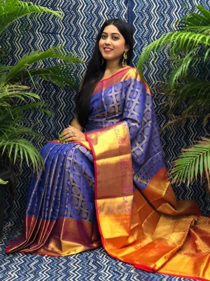 Beautiful Blue Banarasi Silk Saree