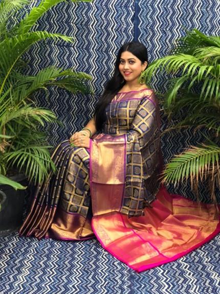 Beautiful Blue Banarasi Silk Saree grabandpack