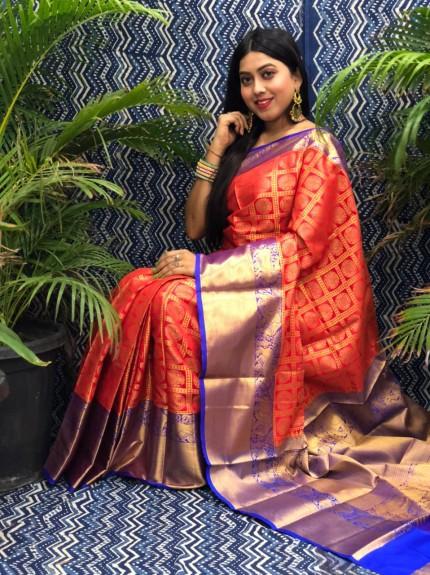 Beautiful Red Banarasi Silk Saree grabandpack