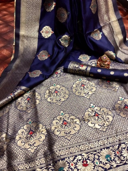 blue Banarasi Lichi Silk Saree grabandpack