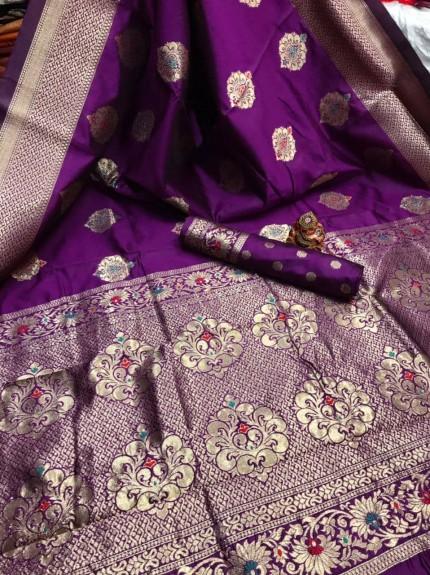 purple Banarasi Lichi Silk Saree grabandpack