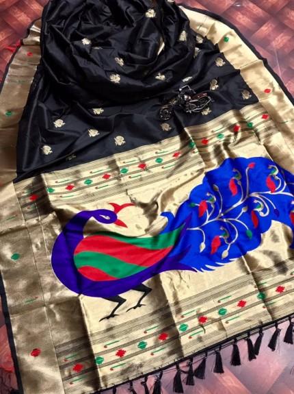 Black Kanchipuram Full weaving and attractive saree gnp0107955