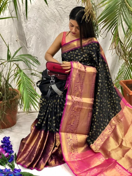 Black kanchipuram silk sarees online shopping cash on delivery