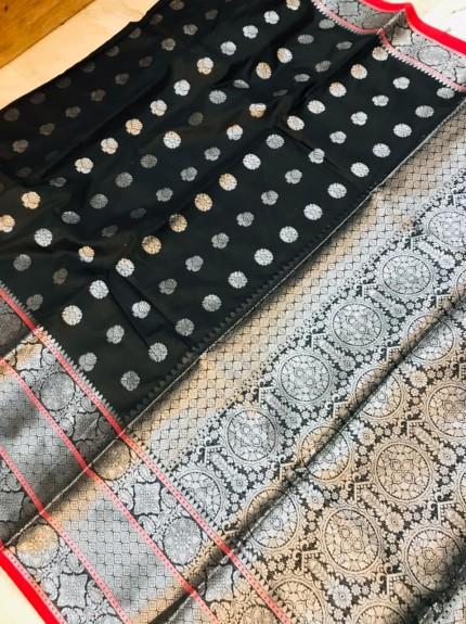 grabandpack Black Lichi silk woven saree