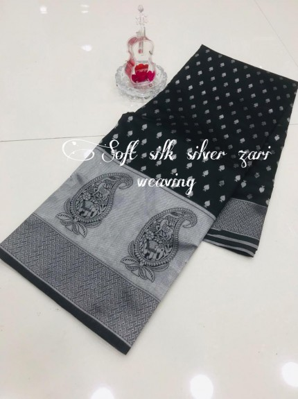 Black Soft Banarasi Silver Weaving Silk Saree - gnp008691
