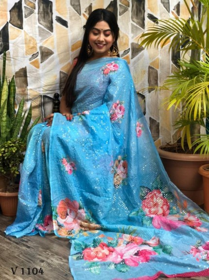 Blue Flower Printed Pure Tebi Silk saree