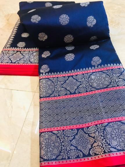 grabandpack Blue Lichi silk woven saree
