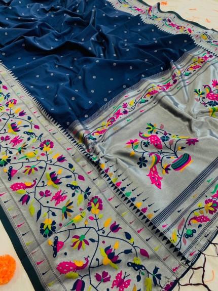 Best Buy Blue Paithani Silk Traditional Saree